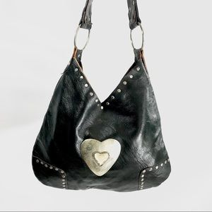 Black Faux Leather Bone and Studs Hobo Heart Bag
